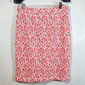 Floral Lace Eyelet Pencil Skirt Salmon Pink EUC